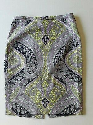 J. Crew Paisley Floral Print Pencil Straight Skirt Light Purple Size 4 Petite