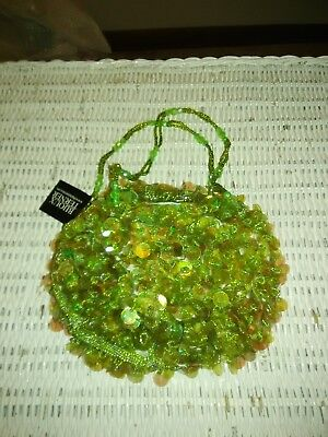 Bijoux Terner Lime Green Coined sequence beaded Evening Bag/Purse NIP/Tags Beaded Evening Bag Purse
