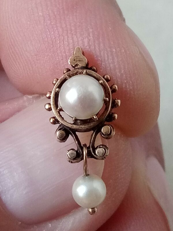 Antique Edwardian Victorian single pearl earring untested gold - 2g - Not Scrap
