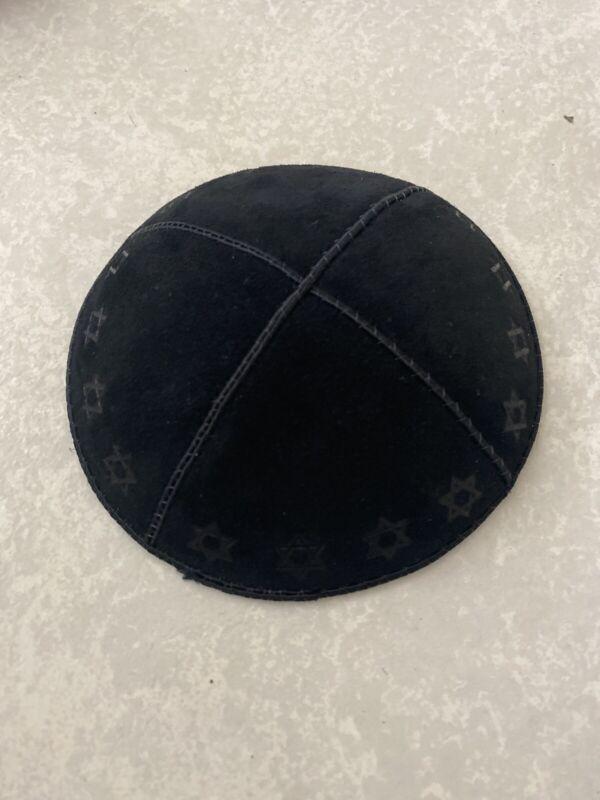BLACK Leather JEWISH HAT Kippah Kippa Yarmulke Yamaka Skullcap Israel Orthodox
