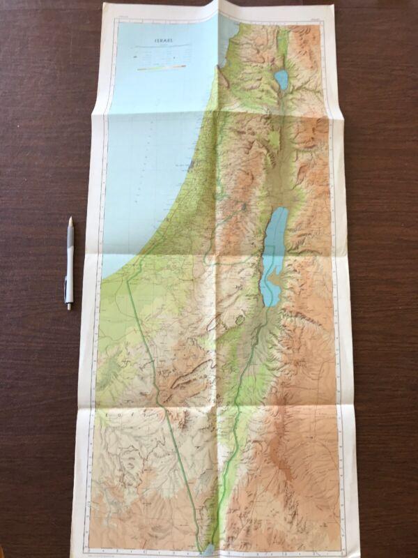Long Israel Map ~ Survey of Israel 1962 Vintage Map