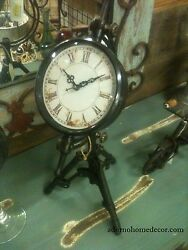 Black Metal TRIPOD TABLE CLOCK Industrial Antique VINTAGE Table Top Decor