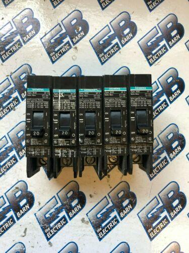 Siemens BQD120, 20 Amp, 277 Volt 1 Pole Circuit Breaker-(1) LOT OF 5- WARRANTY