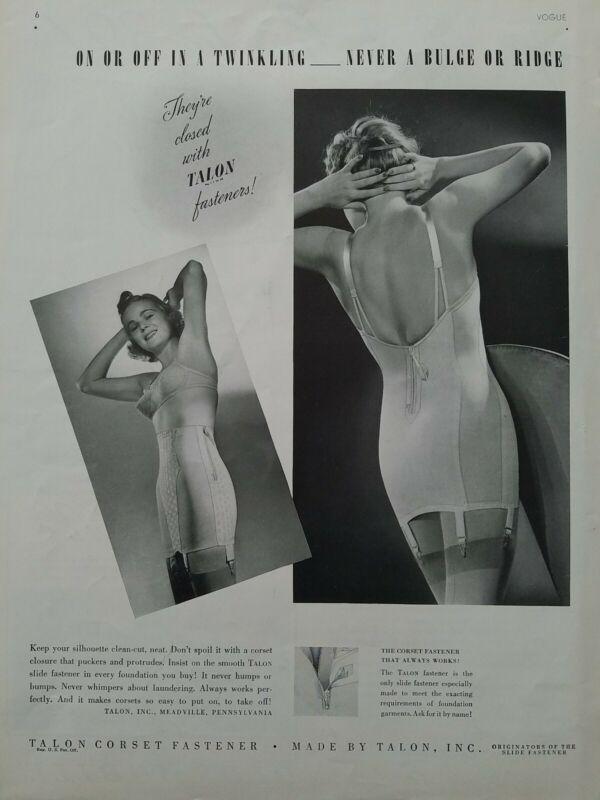 1938 Talon corset zipper fastener vintage women