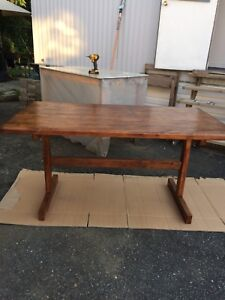 Solid wood heave table.