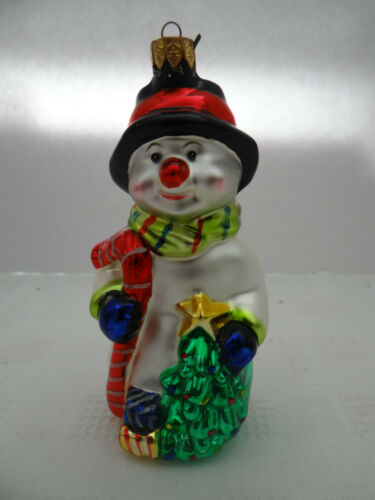 "Snowman Christmas Tree Ornament Mercury Glass 2000 with Candy Cane 4 3/4"" Tall"