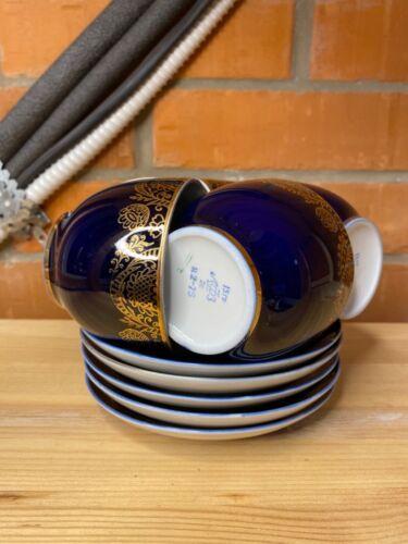Vintage Soviet Lomonosov Cobalt Blue Tea Cup Saucer 5pcs Set LFZ Porcelain