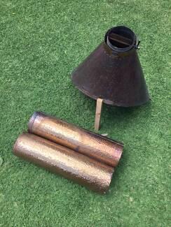 Burning Log copper fireplace hood and flu
