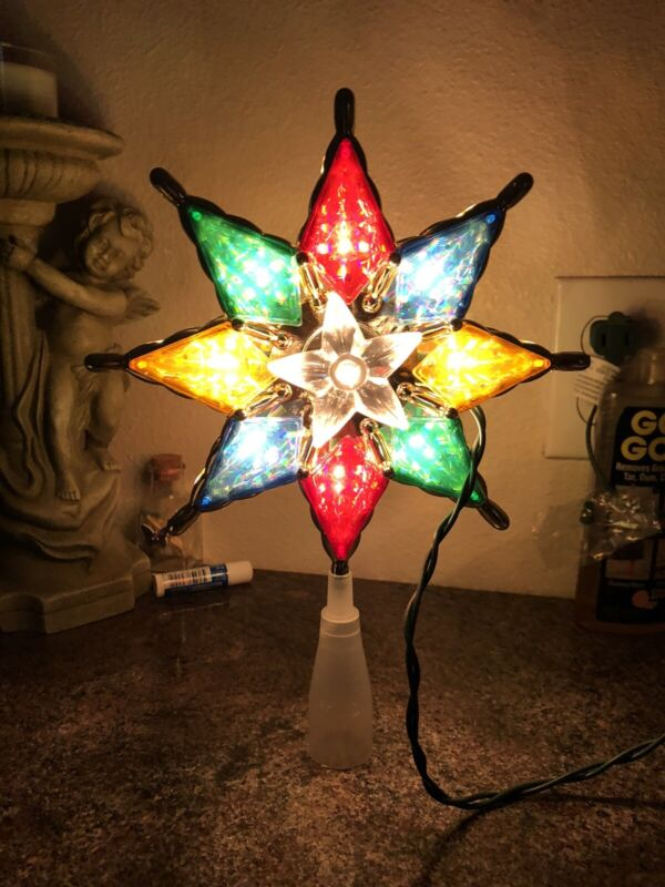 Christmas Tree Topper Star Plastic Stained Glass Vintage Style Multicolor