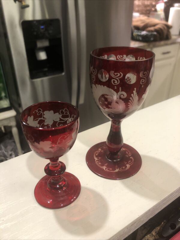 2 vintage EGERMANN Etched Stained Ruby Red Wine Glass Bird Castle CZECH Grapes