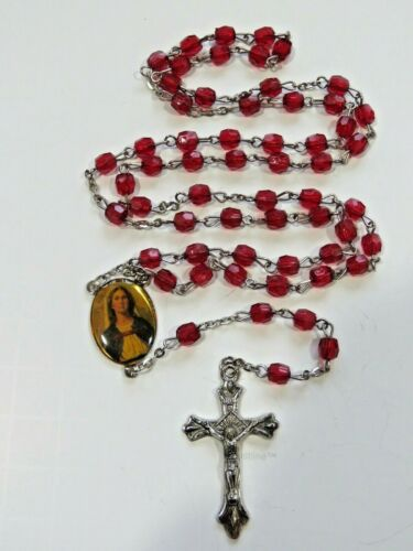 Vintage Catholic Red Faceted Plastic Crystal 5 Decade Rosary Crucifix B3006