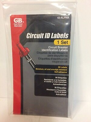 Gardner Bender 42-alpha Circuit Breaker Box Markers Labels