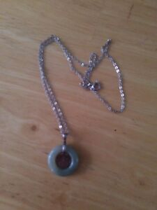 Genuine jade and sterling silver necklace
