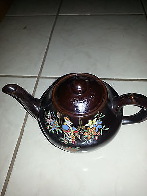 Vintage Brown Glazed Pottery Teapot Hand Painted Flowers Made in Occupied Japan
