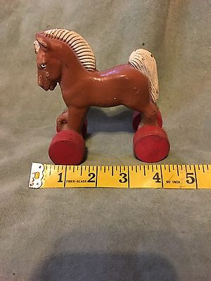 Estate Vintage Composition Trojan Horse Pull Toy Wood Wheels