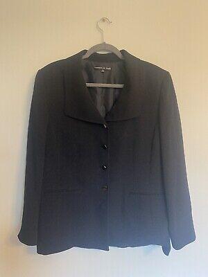 Preston & York Pant Suit Size 16 Button Front Jacket Pleated Pants Black