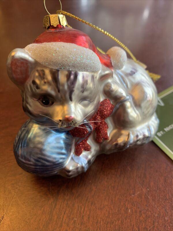 VTG CHRISTMAS ORNAMENT GLASS TABBY CAT & YARN HAT NWT KOHL