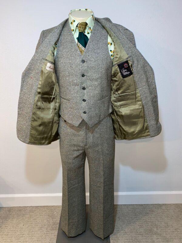 Vtg 50s 60s 3 PIECE SUIT Green Wool Mens 39 R Jacket Vest Coat 33 29 Pants Disco