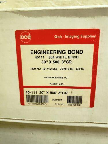 "Engineering Bond Plotter Paper, 30"" x 500 ft., 20 lb., White, 3"" Core; 2 RL/Ctn"
