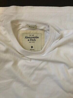 abercrombie & Fitch T-Shirt New Size Medium White  Muscle