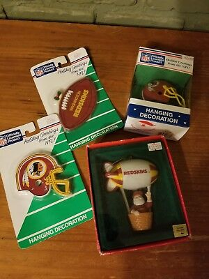 Vintage NFL Washington Redskins Santa's World Ornaments Hanging Decorations Lot ](Redskins Ornaments)