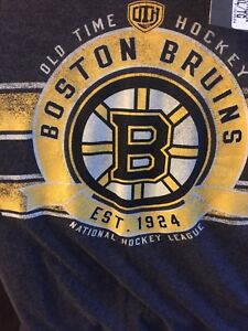 Boston Bruins Old time hockey grey flannel t shirt size XL