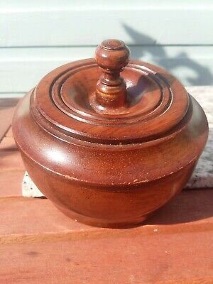Vintage or Antique Turned Wood Bowl Lid Pot Dish Attractive Wood Grain