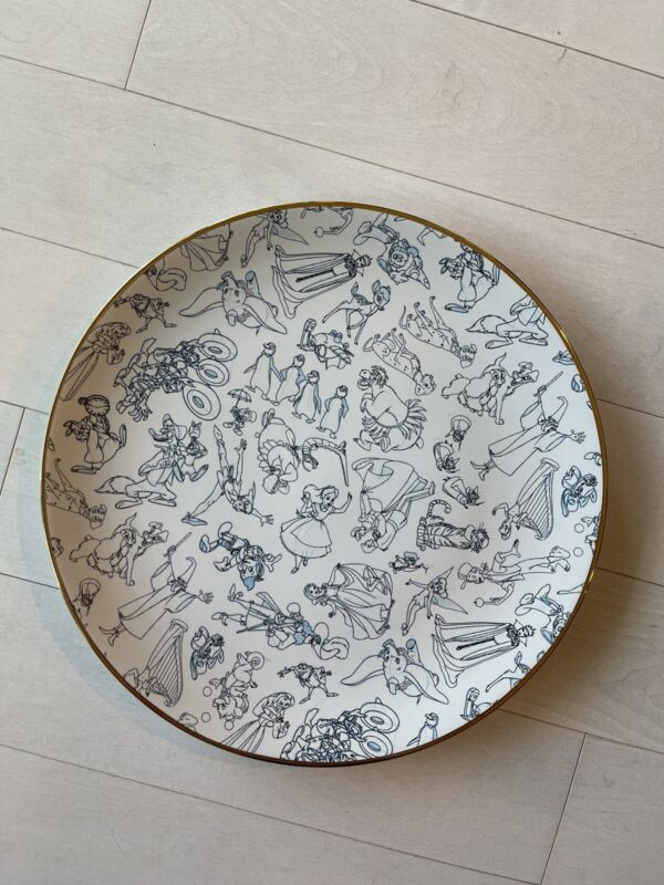 """Disney Parks Ink And Paint Character Sketch Ceramic Black & White Plate 10.5"""""""