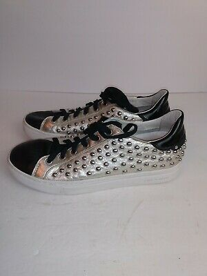 Crime London Leather Studded Trainer Sneakers Gold Black Silver 38