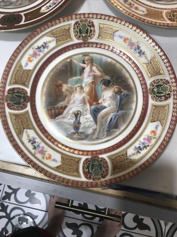 "RARE Set of (3) Royal Schwarzburg Germany Goddess Dinner Plates 10.5"" Gold Gilt"