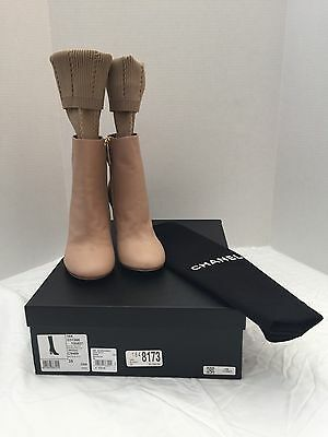 New Chanel 16K Leather Short Boots With Stockings, Beige/Black, Size 5 (35)