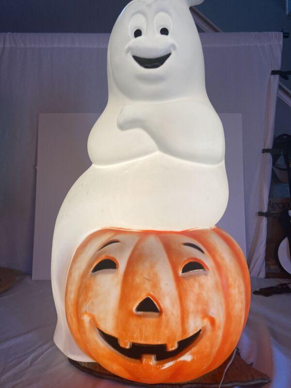 "Vtg Ghost Sitting on Pumpkin Jack O Lantern Blow Mold 34.5"" Lighted Halloween"