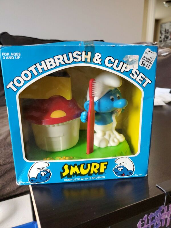 Smurfs Toothbrush and Cup Set 1982 Rare Original Vintage