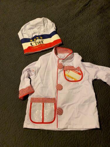 MELISSA & DOUG CHEF JACKET & HAT HALLOWEEN COSTUME JUMPER & HAT AGE 3-6