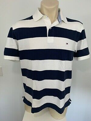 Tommy Hilfiger mens Polo Shirt Blue & White Striped Short Sleeve cotton Size L