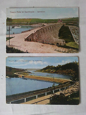 2 alte farbige Ansichtskarten AK Talsperre Malter, ungelaufen (25)