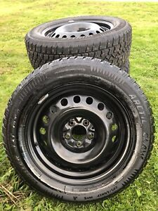 4 225/60r 17 winter tires with 5x114.3 steel rims. Barely used