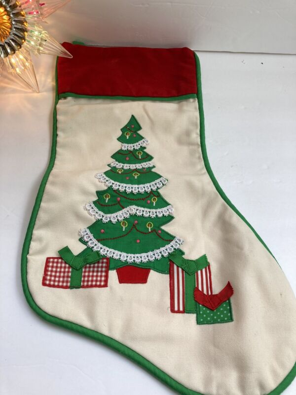 House Of Hatten Embroidered Applique Tree & Presents Christmas Stocking 16""
