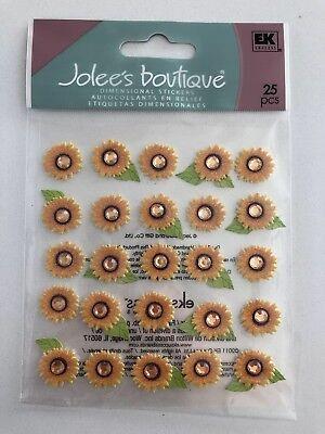 Sunflower Gems - NIP Jolee's Boutique Dimensional Stickers - Sunflower Repeats - 25 - Gem Glitter