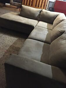 Beige microsuede Corner Lounge chaise Plumpton Blacktown Area Preview