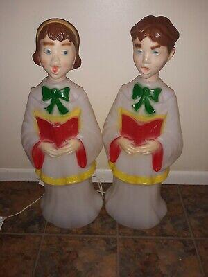 2 Vintage Plastic Blow Mold Choir Boy & Girl Caroler 30″ Christmas Lighted Decor