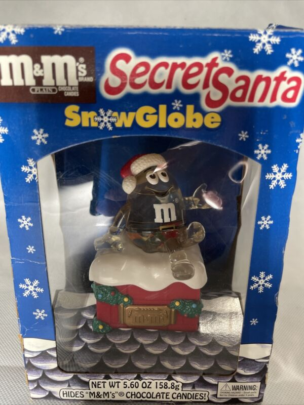 Vintage 1990s M&Ms Secret Santa Snowglobe Christmas Holiday Snow Globe in Box