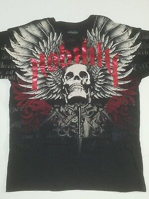 Mens Nobility T Shirt Size X Large Black With Skull   Wings Sirs   Lords