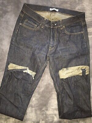 ACNE JEANS 34 X 34 MIC RIGID DENIM TAPER LEG $280 Retail DARK Distressed Cuffed
