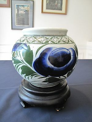 Korean Early 20th Century Polychrome Cobalt Blue Bowl Jar in Perfect Condition