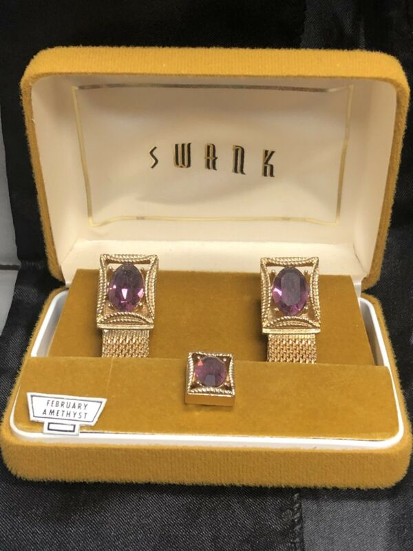 Vintage NOS *SWANK* AMETHYST Gold Tone Wrap Around Cuff Links and Tie Tack Tac
