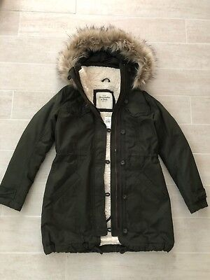 New Abercrombie & Fitch Hollister Women Sherpa-Lined Parka Jacket Coat - Olive S