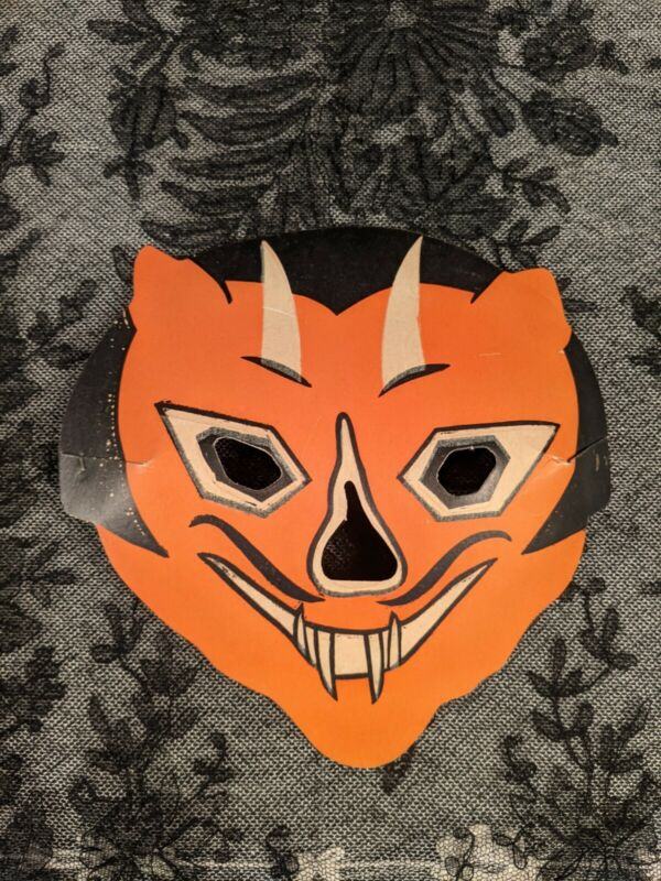 ANTIQUE 1920S PAPER DEVIL MASK FOR HALLOWEEN COSTUME OLD STOCK