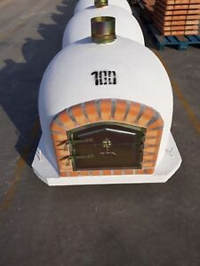 Brick wood outdoor fired Pizza oven 100cm white Deluxe model Wooden- BBQ-Quality