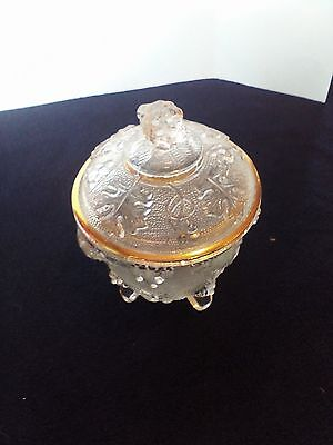 "6"" Gold Trimmed Covered Candy Dish With Raised Grape Cluster Designs"